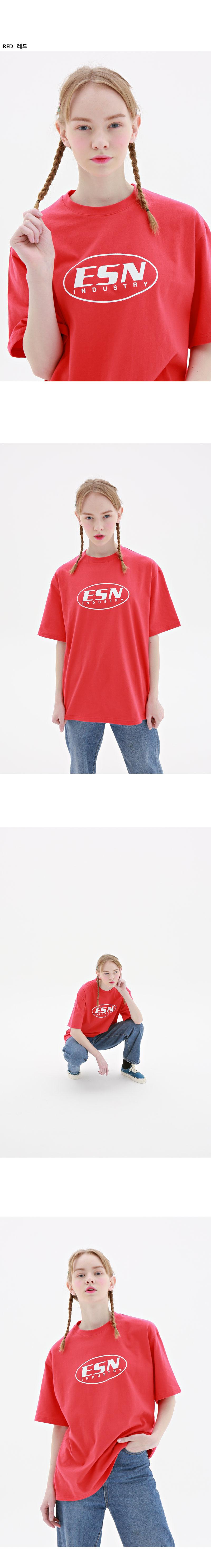 이에스엔(ESN) 오벌 프린팅 반팔 티셔츠 블루